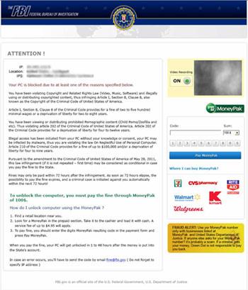 FBI Ransomware / Moneypak Virus / Malware